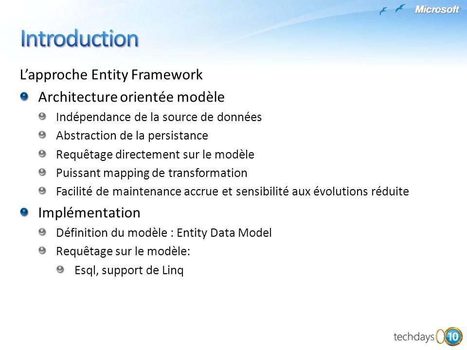 L'approche Entity Framework Architecture orientée modèle Indépendance de la source de données Abstraction de la persistance Requêtage directement sur