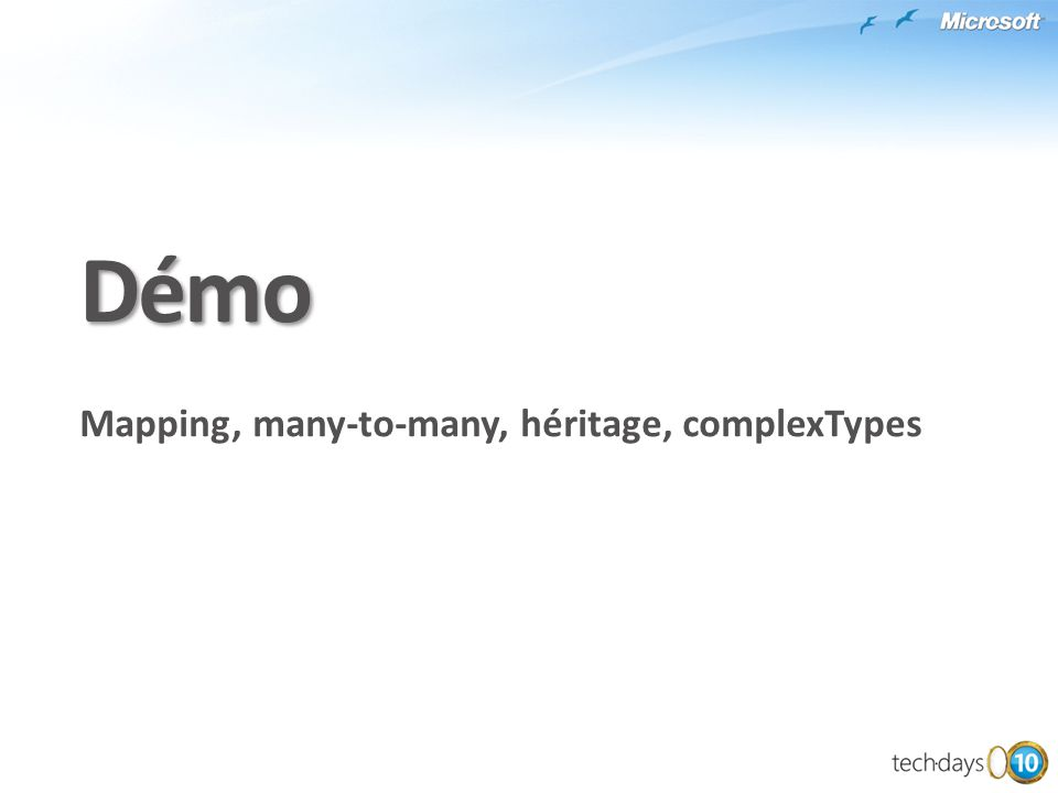 Démo Mapping, many-to-many, héritage, complexTypes