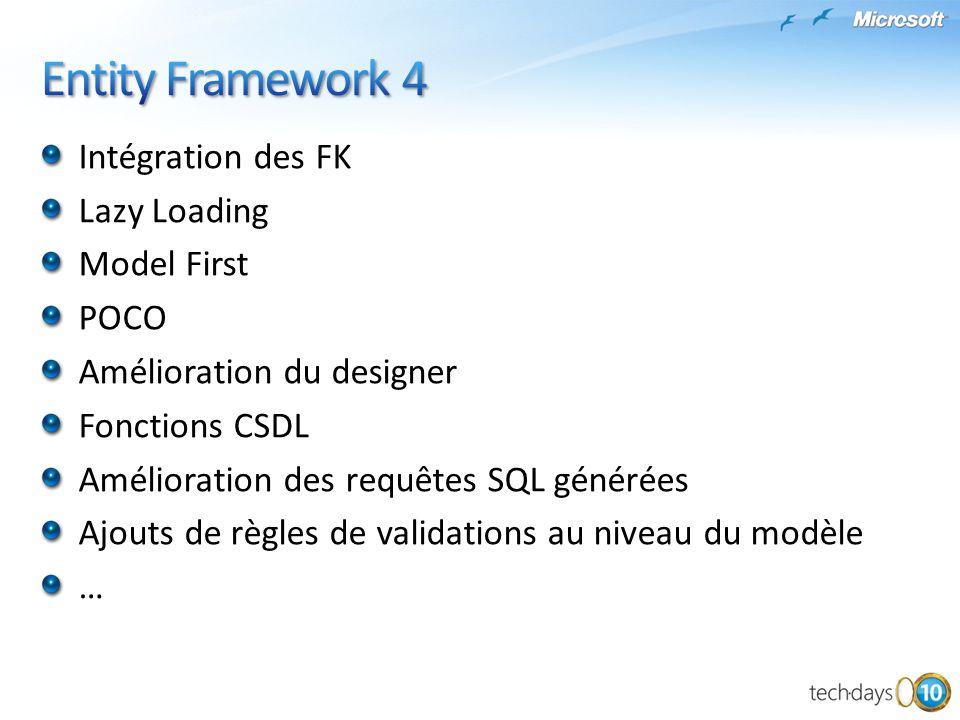 Intégration des FK Lazy Loading Model First POCO Amélioration du designer Fonctions CSDL Amélioration des requêtes SQL générées Ajouts de règles de va