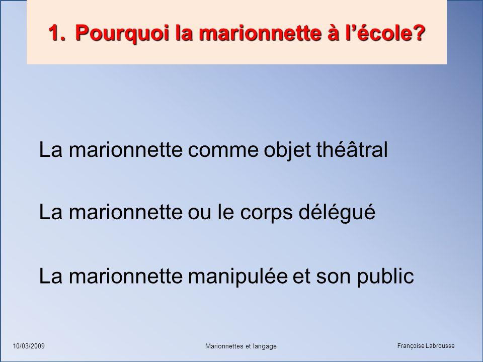 Françoise Labrousse Marionnettes et langage10/03/2009 1.Pourquoi la marionnette à l'école? La marionnette comme objet théâtral La marionnette ou le co