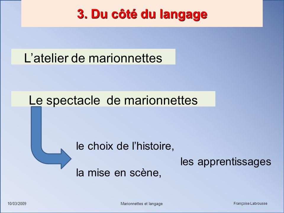 Françoise Labrousse Marionnettes et langage10/03/2009 3. Du côté du langage L'atelier de marionnettes Le spectacle de marionnettes le choix de l'histo