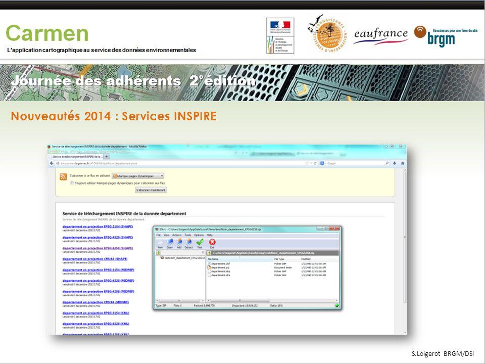 Service de découverte CSW Service de visualisation WMS Service de téléchargement WFS ATOM GeoSource CARMEN S.Loigerot BRGM/DSI Nouveautés 2014 : Servi
