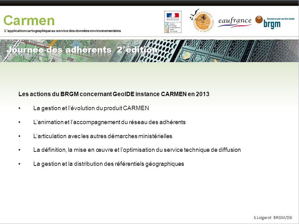 Les actions du BRGM concernant GeoIDE instance CARMEN en 2013 •La gestion et l'évolution du produit CARMEN •L'animation et l'accompagnement du réseau