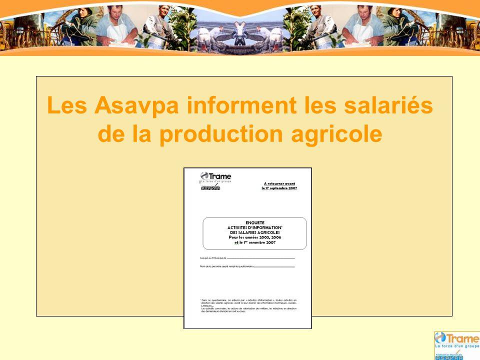 Enquête « Activités d'information des salariés agricoles » Résultats