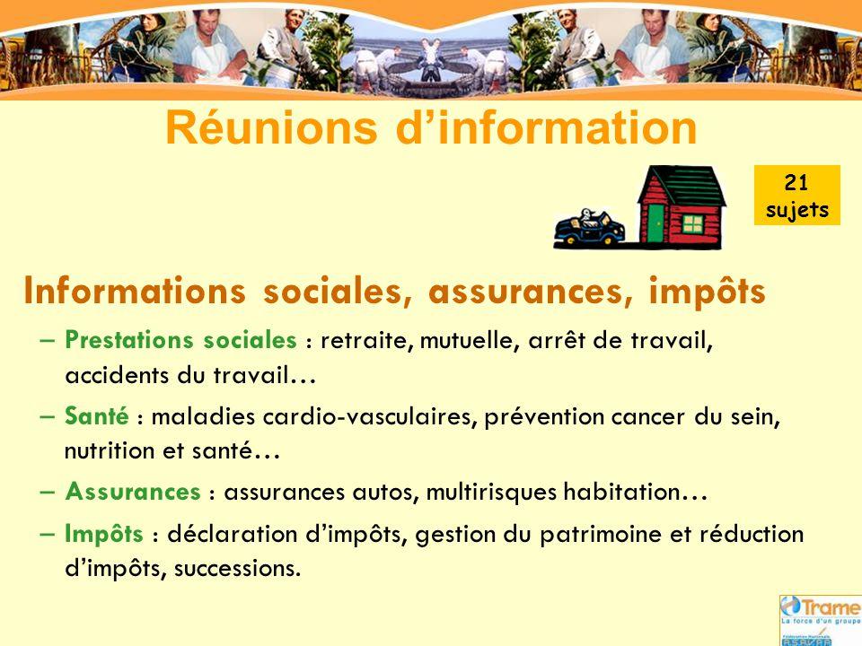 Réunions d'information Informations sociales, assurances, impôts –Prestations sociales : retraite, mutuelle, arrêt de travail, accidents du travail… –