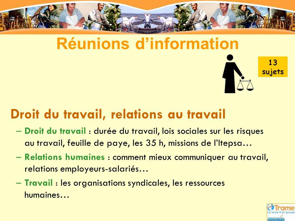 Réunions d'information Droit du travail, relations au travail –Droit du travail : durée du travail, lois sociales sur les risques au travail, feuille