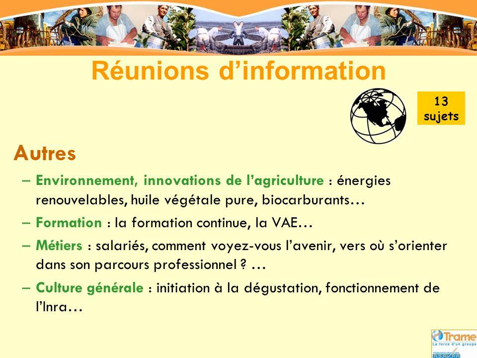 Réunions d'information Autres –Environnement, innovations de l'agriculture : énergies renouvelables, huile végétale pure, biocarburants… –Formation :