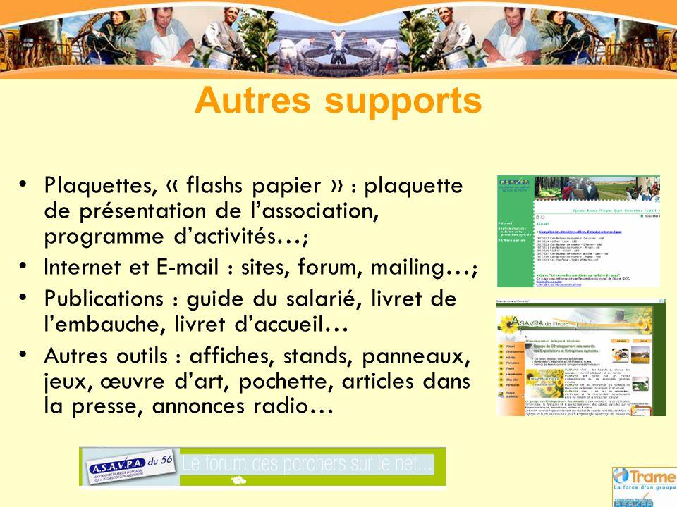 •Plaquettes, « flashs papier » : plaquette de présentation de l'association, programme d'activités…; •Internet et E-mail : sites, forum, mailing…; •Pu