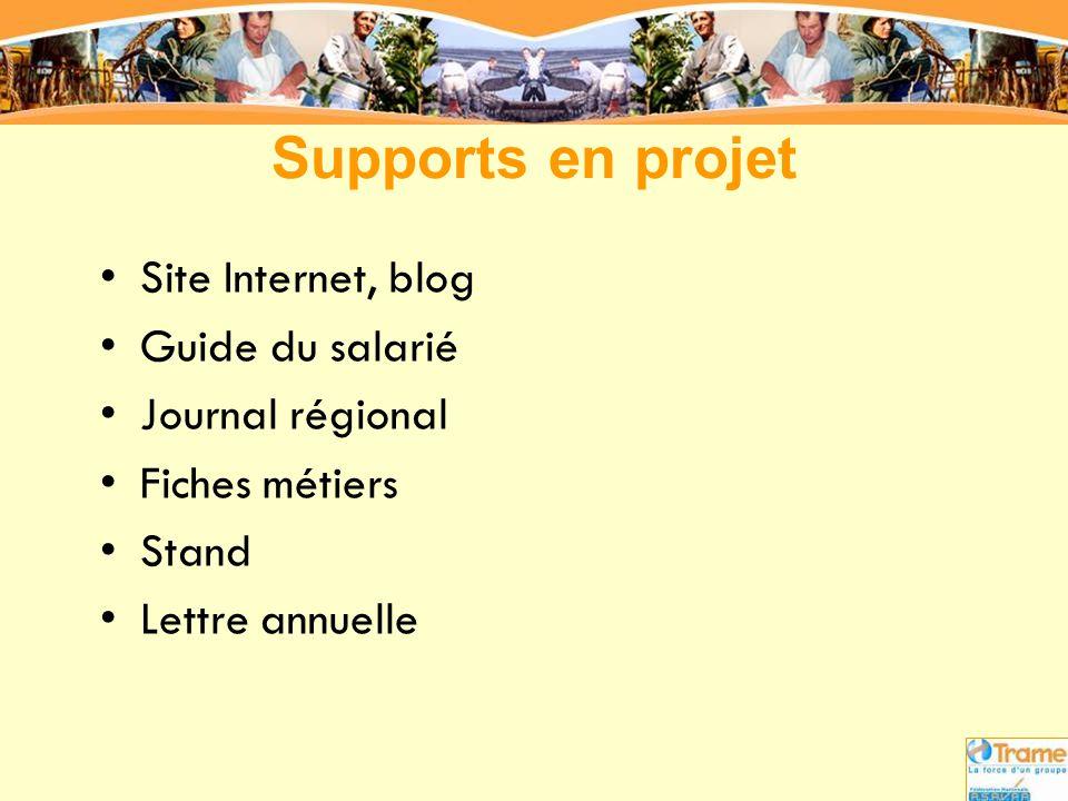 Supports en projet •Site Internet, blog •Guide du salarié •Journal régional •Fiches métiers •Stand •Lettre annuelle