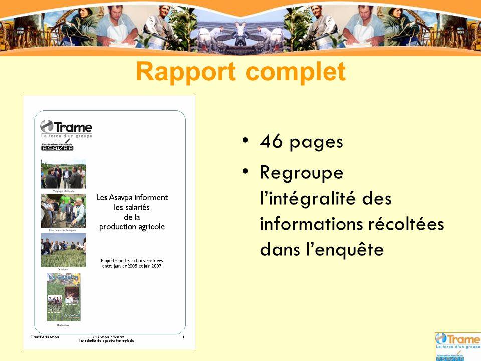 Rapport complet •46 pages •Regroupe l'intégralité des informations récoltées dans l'enquête