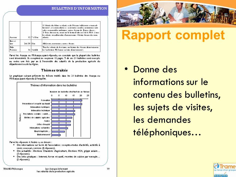 Rapport complet •Donne des informations sur le contenu des bulletins, les sujets de visites, les demandes téléphoniques…