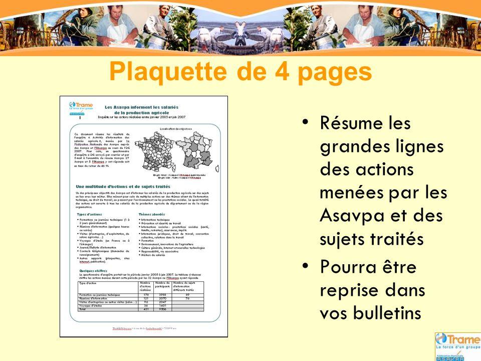 Plaquette de 4 pages •Résume les grandes lignes des actions menées par les Asavpa et des sujets traités •Pourra être reprise dans vos bulletins