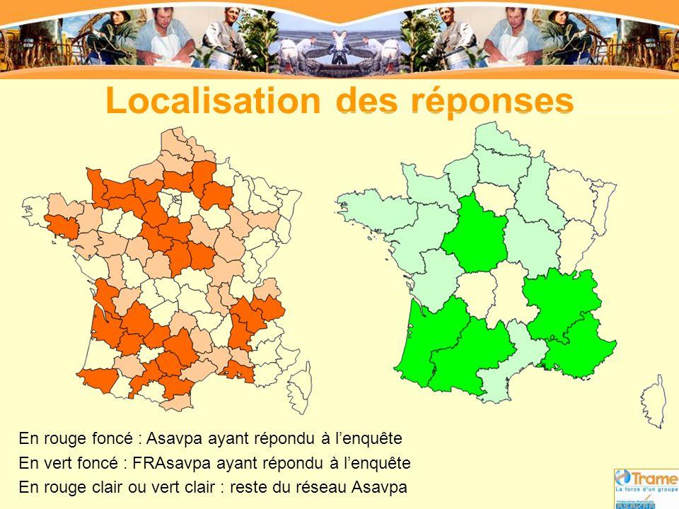Localisation des réponses En rouge foncé : Asavpa ayant répondu à l'enquête En vert foncé : FRAsavpa ayant répondu à l'enquête En rouge clair ou vert