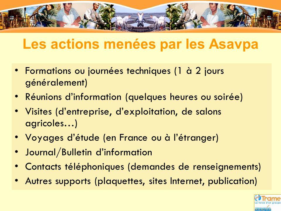 Les actions menées par les Asavpa •Formations ou journées techniques (1 à 2 jours généralement) •Réunions d'information (quelques heures ou soirée) •V