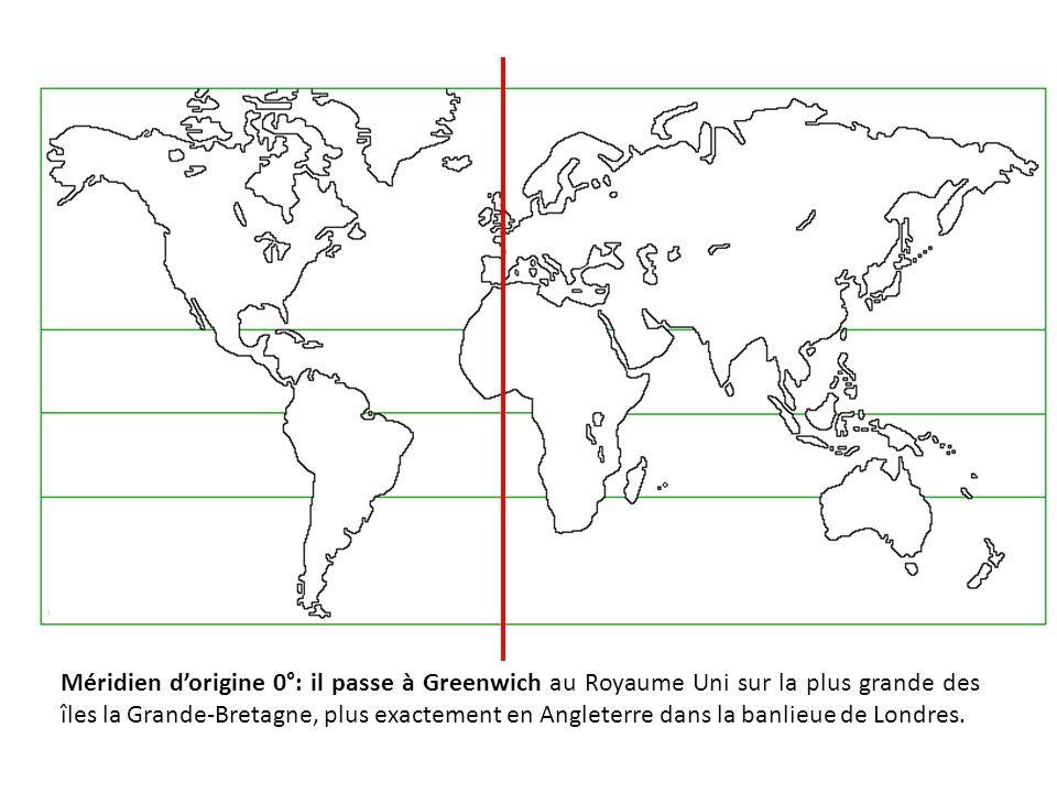 Méridien d'origine 0°: il passe à Greenwich au Royaume Uni sur la plus grande des îles la Grande-Bretagne, plus exactement en Angleterre dans la banli