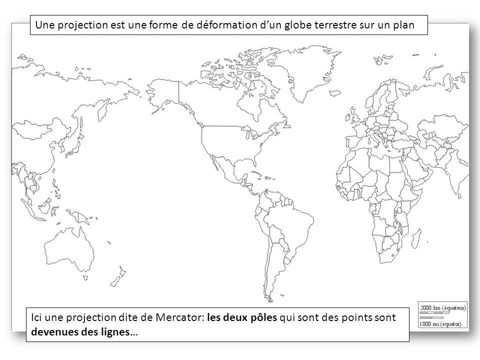 Une projection est une forme de déformation d'un globe terrestre sur un plan Ici une projection dite de Mercator: les deux pôles qui sont des points s