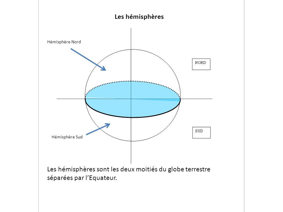 Les hémisphères Les hémisphères sont les deux moitiés du globe terrestre séparées par l'Equateur. Hémisphère Nord Hémisphère Sud