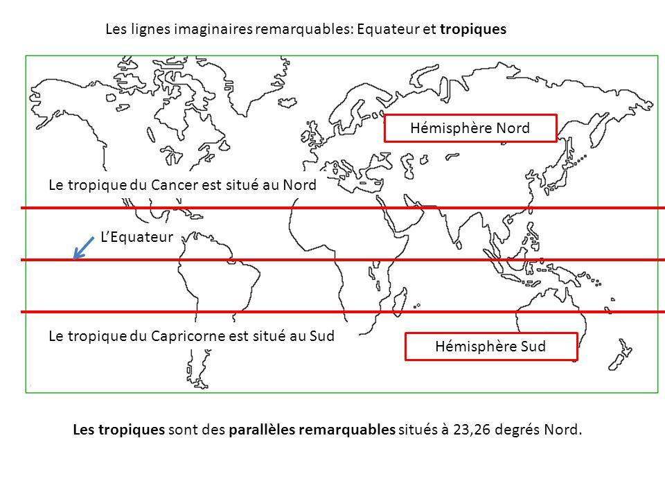 Les tropiques sont des parallèles remarquables situés à 23,26 degrés Nord. L'Equateur Les lignes imaginaires remarquables: Equateur et tropiques Hémis