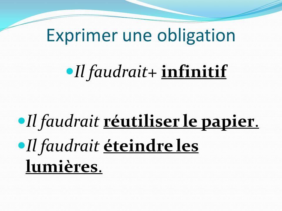 Exprimer une obligation  Il faudrait+ infinitif  Il faudrait réutiliser le papier.  Il faudrait éteindre les lumières.