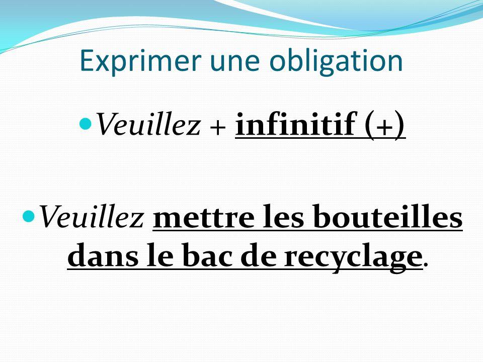 Exprimer une obligation  Veuillez + infinitif (+)  Veuillez mettre les bouteilles dans le bac de recyclage.