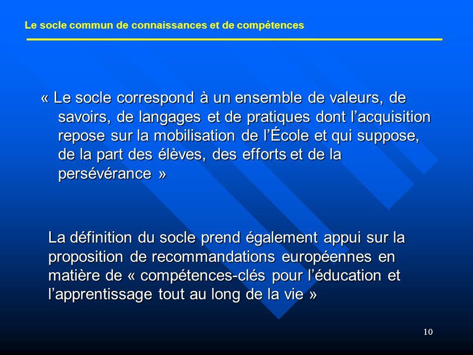 10 « Le socle correspond à un ensemble de valeurs, de savoirs, de langages et de pratiques dont l'acquisition repose sur la mobilisation de l'École et