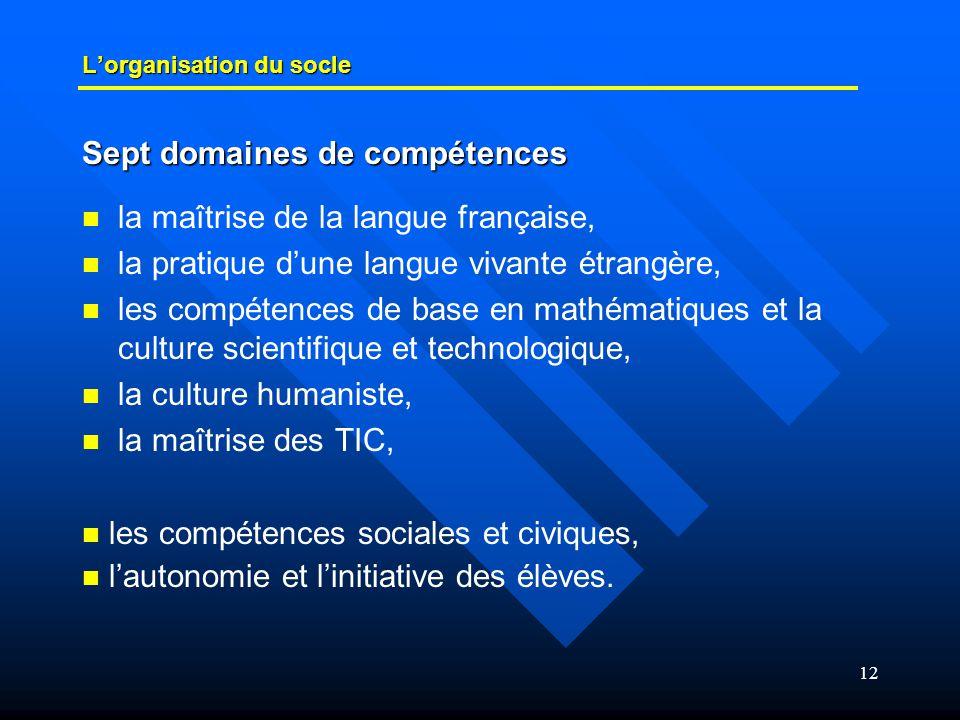 12 L'organisation du socle   la maîtrise de la langue française,   la pratique d'une langue vivante étrangère,   les compétences de base en math