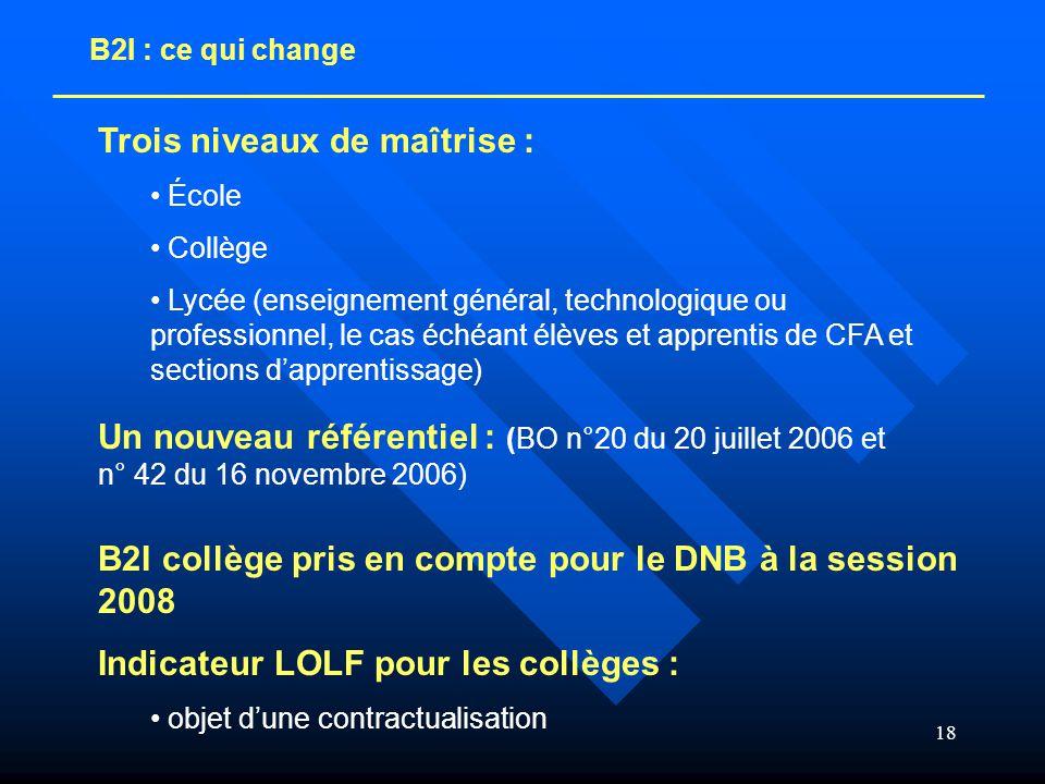 18 B2I : ce qui change Un nouveau référentiel : (BO n°20 du 20 juillet 2006 et n° 42 du 16 novembre 2006) Trois niveaux de maîtrise : • École • Collèg