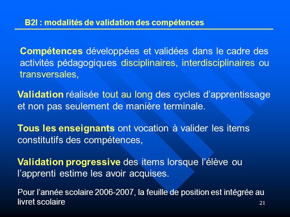 21 B2I : modalités de validation des compétences Compétences développées et validées dans le cadre des activités pédagogiques disciplinaires, interdis