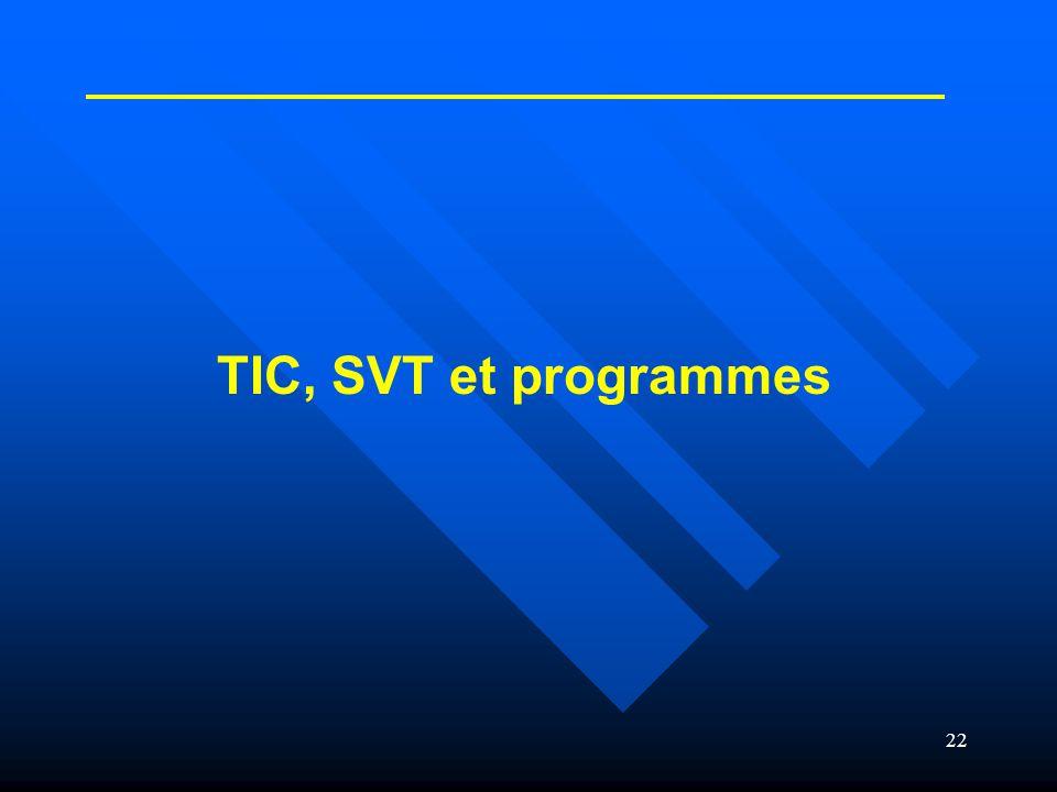 22 TIC, SVT et programmes