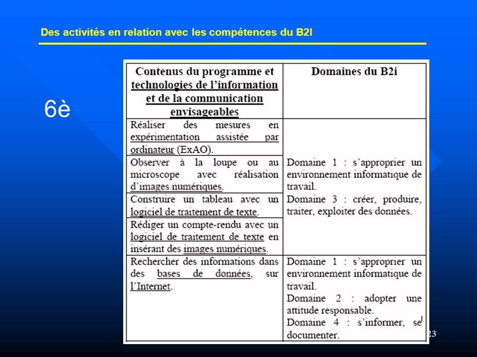 23 Des activités en relation avec les compétences du B2I 6è
