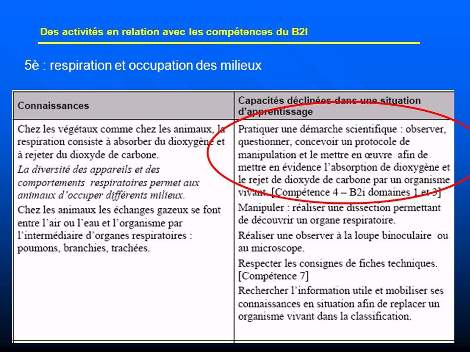 25 Des activités en relation avec les compétences du B2I 5è : respiration et occupation des milieux