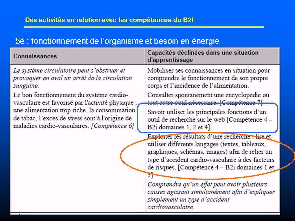 26 Des activités en relation avec les compétences du B2I 5è : fonctionnement de l'organisme et besoin en énergie