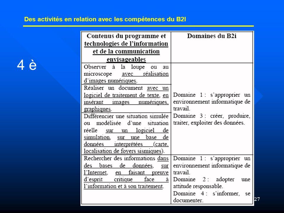 27 Des activités en relation avec les compétences du B2I 4 è