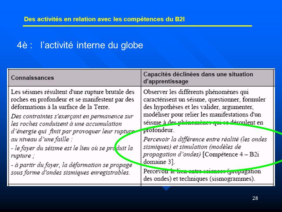 28 Des activités en relation avec les compétences du B2I 4è : l'activité interne du globe