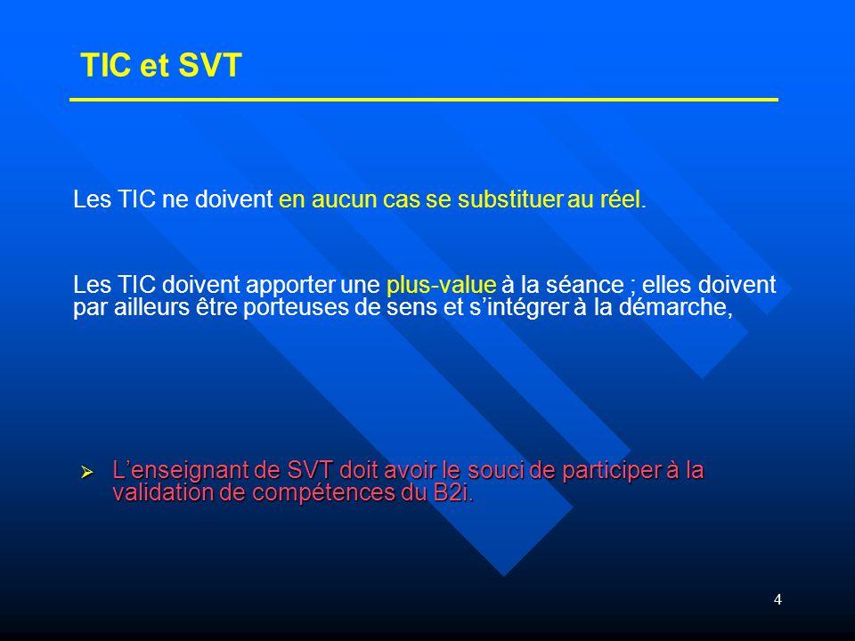 4  L'enseignant de SVT doit avoir le souci de participer à la validation de compétences du B2i. Les TIC ne doivent en aucun cas se substituer au réel