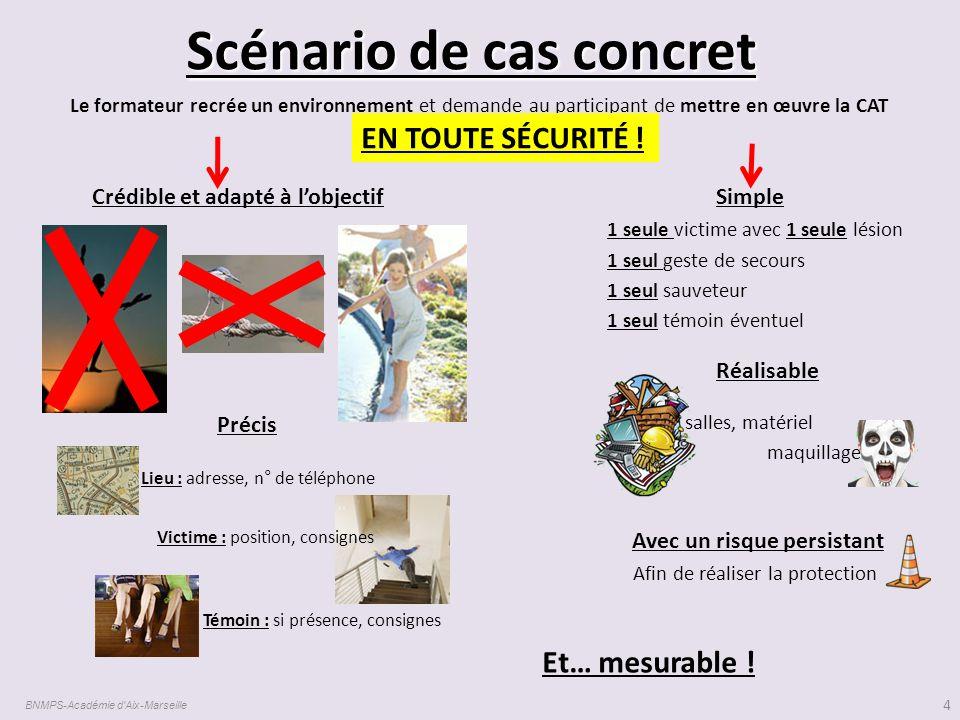 Scénario de cas concret BNMPS-Académie d'Aix-Marseille 4 Le formateur recrée un environnement et demande au participant de mettre en œuvre la CAT Créd