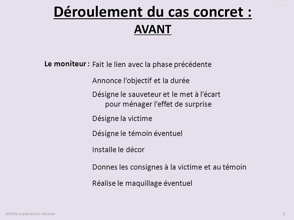 Objectif BNMPS-Académie d'Aix-Marseille 5 Déroulement du cas concret : AVANT Fait le lien avec la phase précédente Annonce l'objectif et la durée Dési
