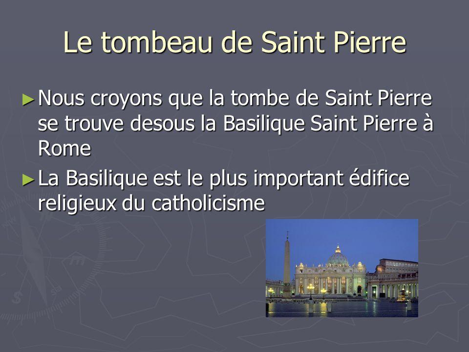 Le tombeau de Saint Pierre ► Nous croyons que la tombe de Saint Pierre se trouve desous la Basilique Saint Pierre à Rome ► La Basilique est le plus important édifice religieux du catholicisme