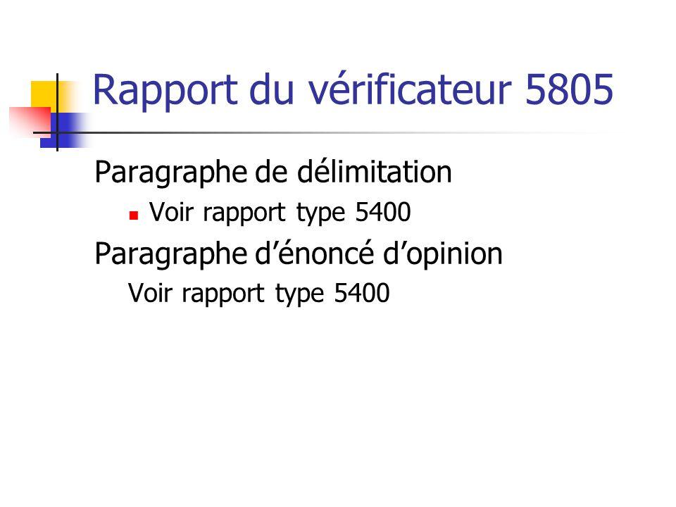 Rapport du vérificateur 5805 Paragraphe de délimitation  Voir rapport type 5400 Paragraphe d'énoncé d'opinion Voir rapport type 5400