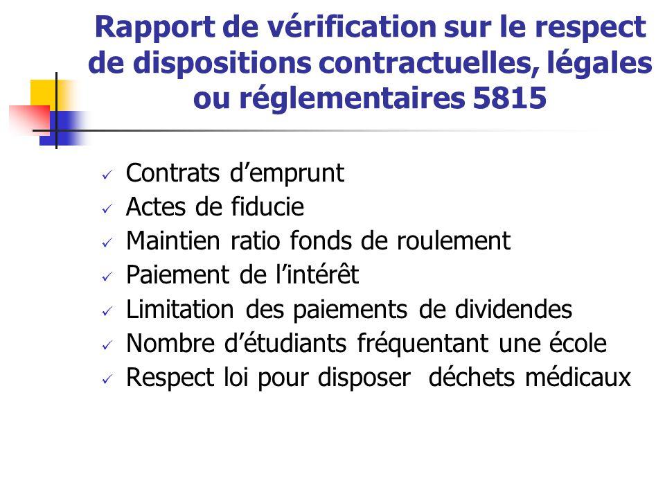 Rapport de vérification sur le respect de dispositions contractuelles, légales ou réglementaires 5815  Contrats d'emprunt  Actes de fiducie  Mainti