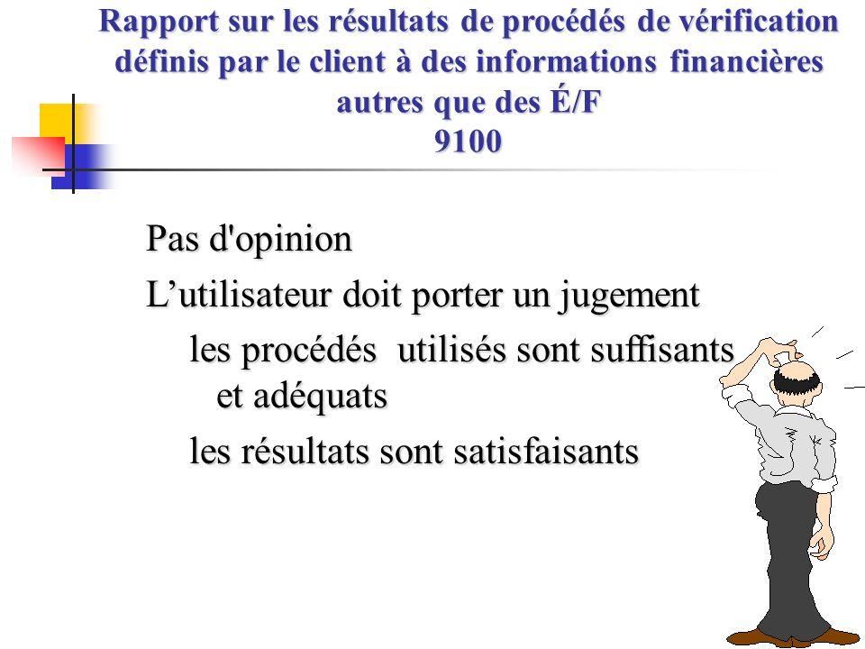 Pas d'opinion L'utilisateur doit porter un jugement les procédés utilisés sont suffisants et adéquats les résultats sont satisfaisants Rapport sur les