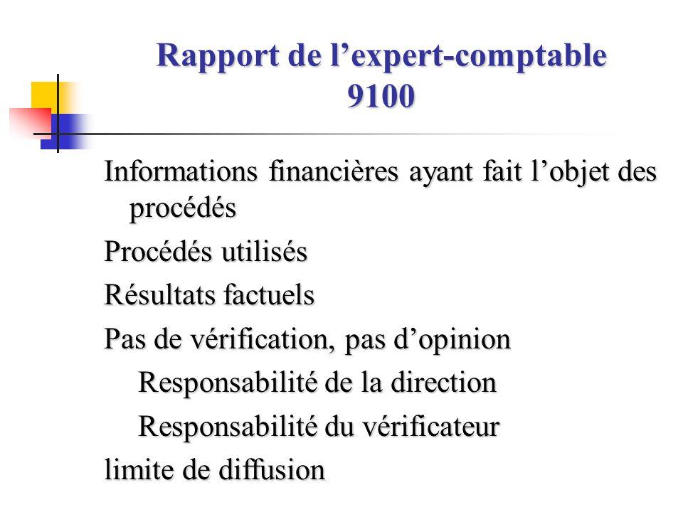 Rapport de l'expert-comptable 9100 Informations financières ayant fait l'objet des procédés Procédés utilisés Résultats factuels Pas de vérification,