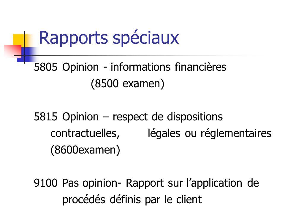 Rapports spéciaux 5805Opinion - informations financières (8500 examen) 5815Opinion – respect de dispositions contractuelles, légales ou réglementaires