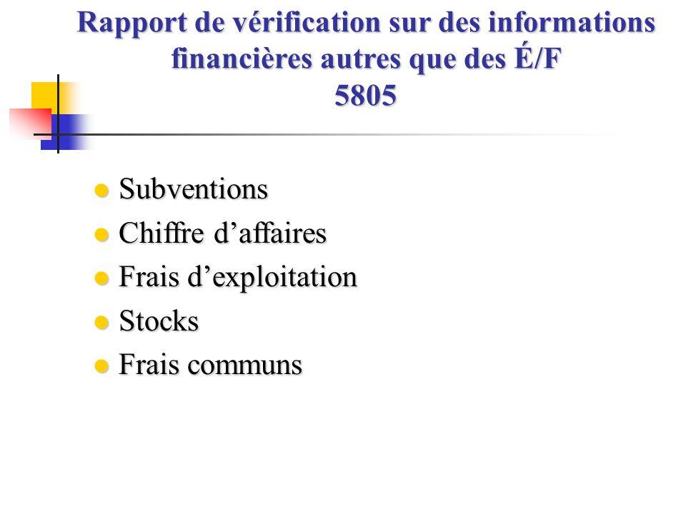l Subventions l Chiffre d'affaires l Frais d'exploitation l Stocks l Frais communs Rapport de vérification sur des informations financières autres que