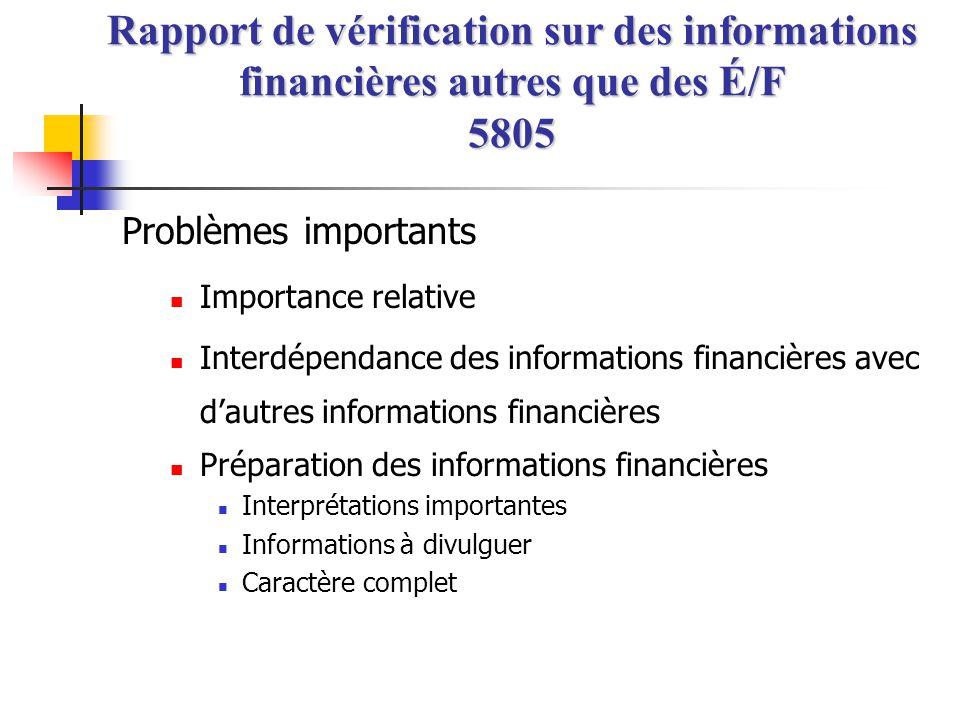 Problèmes importants  Importance relative  Interdépendance des informations financières avec d'autres informations financières  Préparation des inf