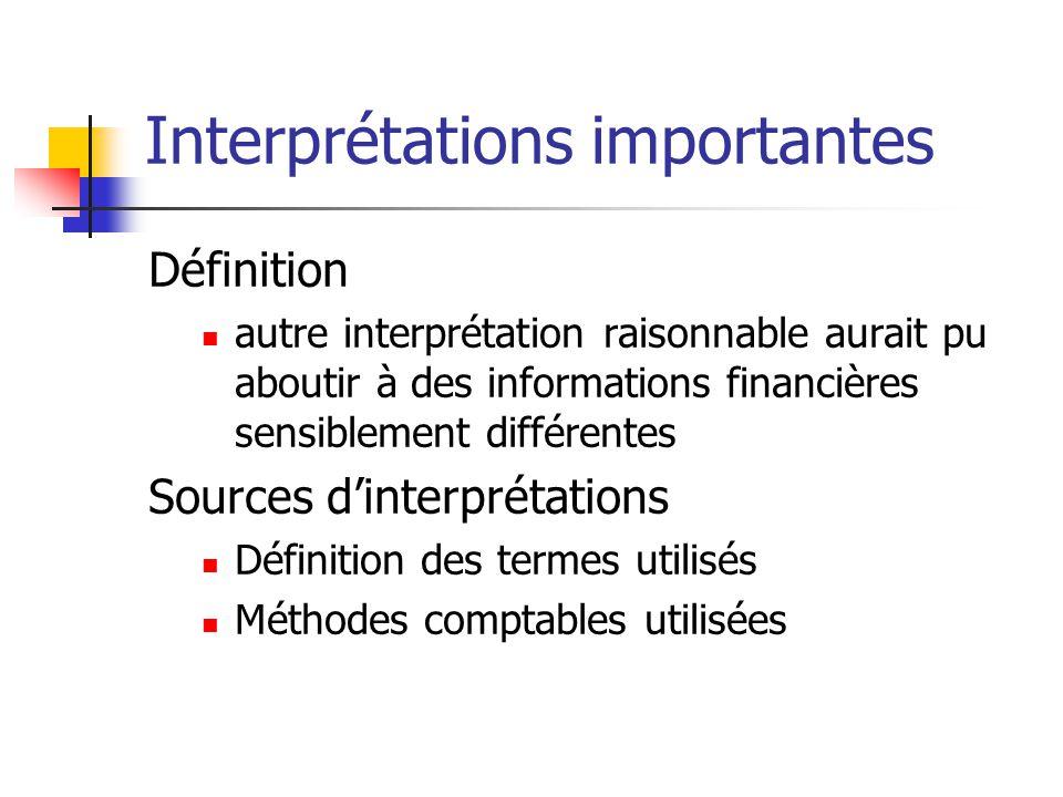 Interprétations importantes Définition  autre interprétation raisonnable aurait pu aboutir à des informations financières sensiblement différentes So