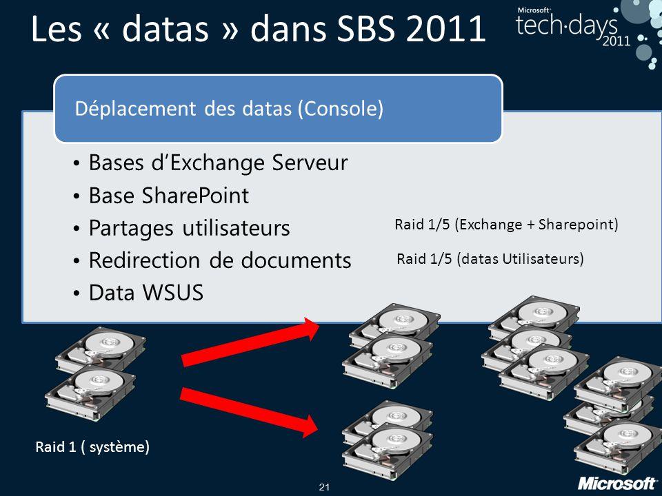 21 Les « datas » dans SBS 2011 •Bases d'Exchange Serveur •Base SharePoint •Partages utilisateurs •Redirection de documents •Data WSUS Déplacement des datas (Console) Raid 1 ( système) Raid 1/5 (Exchange + Sharepoint) Raid 1/5 (datas Utilisateurs)