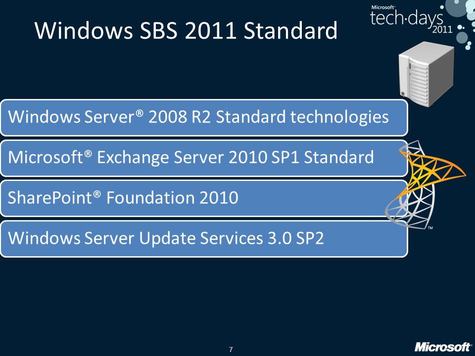 7 Windows SBS 2011 Standard Windows Server® 2008 R2 Standard technologiesMicrosoft® Exchange Server 2010 SP1 StandardSharePoint® Foundation 2010Windows Server Update Services 3.0 SP2