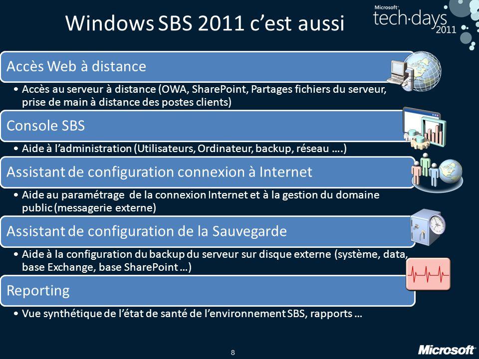8 Windows SBS 2011 c'est aussi Accès Web à distance •Accès au serveur à distance (OWA, SharePoint, Partages fichiers du serveur, prise de main à distance des postes clients) Console SBS •Aide à l'administration (Utilisateurs, Ordinateur, backup, réseau ….) Assistant de configuration connexion à Internet •Aide au paramétrage de la connexion Internet et à la gestion du domaine public (messagerie externe) Assistant de configuration de la Sauvegarde •Aide à la configuration du backup du serveur sur disque externe (système, data, base Exchange, base SharePoint …) Reporting •Vue synthétique de l'état de santé de l'environnement SBS, rapports …