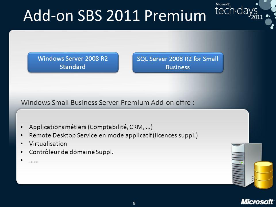 9 • Applications métiers (Comptabilité, CRM, …) • Remote Desktop Service en mode applicatif (licences suppl.) • Virtualisation • Contrôleur de domaine Suppl.